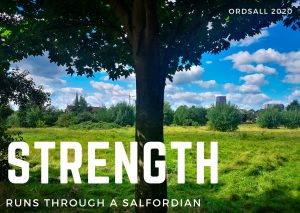 Photograph taken in Ordsall Salford of a large, beautiful tree, in the background a field. In the distance are high rise buildings. The sky is blue, but cloudy. Over the photograph the word Strength is typed in large capital letters, below it the words 'Runs through a Salfordian'.