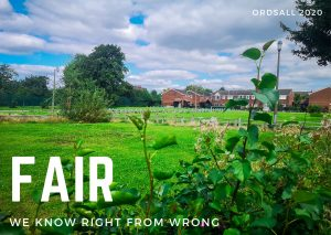 Photograph of a field in Ordsall, Salford. In the distance are red brick houses. The sky is blue, but cloudy. Over the photograph the word Fair is typed in large capital letters, below it the words 'We know right from wrong'.