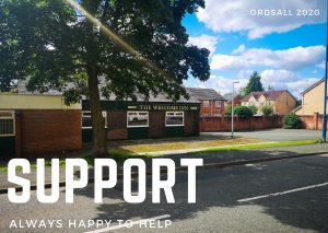 Photograph of The Welcome Inn pub on a residential street in Ordsall Salford. In front of the pub is a large tree and the light is shining through the branches. The sky is blue, but cloudy. Over the photograph the word Support is typed in large capital letters, below it the words 'Always happy to help'.